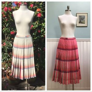 Vintage Box Plead Midi Skirt Reversible S